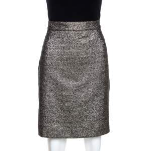 Chanel Silver Metallic A Line Skirt L