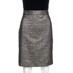 Chanel Silver Metallic A Line Skirt L