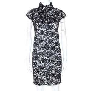 Chanel Black Cotton Lace Sleeveless Shift Dress L