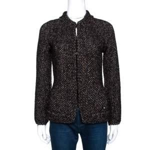 Chanel Black Lurex Tweed Alpaca Wool Cardigan L