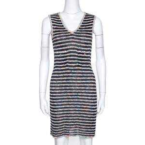 Chanel Multicolor Textured Stripe Knit Shift Dress S