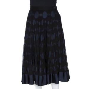 Chanel Black and Blue Cotton Blend Jacquard A Line Midi Skirt L