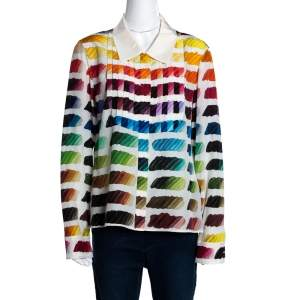 Chanel Multicolor Silk Colorama Print Long Sleeve Shirt L