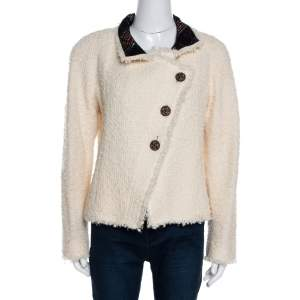 Chanel Cream Boucle & Plaid Trim Tailored Jacket M