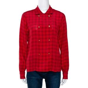 Chanel Red Printed Silk Button Front Long Sleeve Shirt M