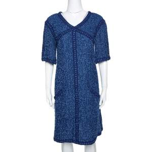 Chanel Blue Boucle Tweed Shift Dress L