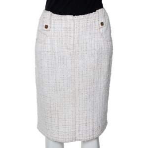 Chanel Vintage Ivory Tweed Pencil Skirt M