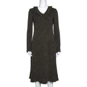 Chanel Olive Green Mohair Blend Tweed Midi Dress M