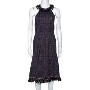 Chanel Navy Blue Monogram Print Cotton Fringed Halter Dress S
