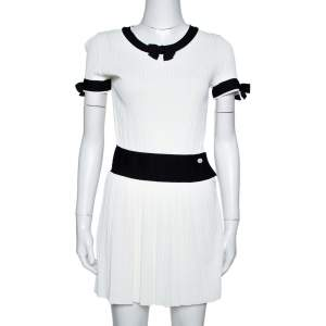 Chanel White Rib Knit Contrast Trim Detail Mini Dress S
