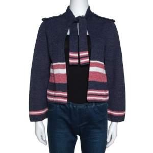 Chanel Blue Cotton Blend Striped Open Front Cardigan M