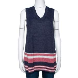 Chanel Blue Cotton Blend Striped Sleeveless Top M