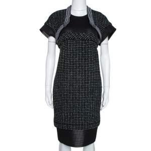 Chanel Black Boucle Knit & Mesh Short Sleeve Dress L