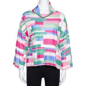 Chanel Multicolor Abstract Printed Knit Turtleneck Top S