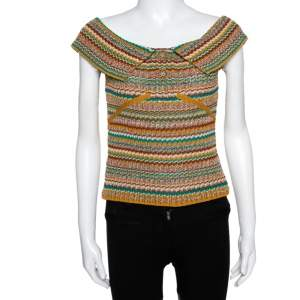 Chanel Mustard Yellow & Green Crochet Knit Off Shoulder Top S