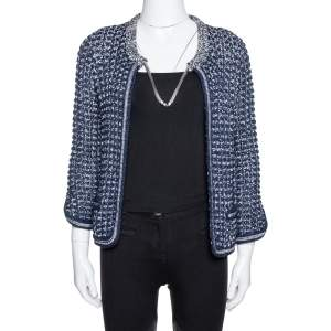 Chanel Navy Blue Crochet Knit Neck Chain Detail Jacket M