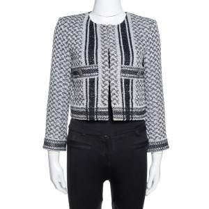 Chanel Monochrome Textured Sequined Jacket M