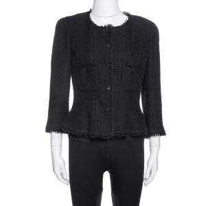Chanel Black Silk & Cotton Fringed Button Front Jacket L