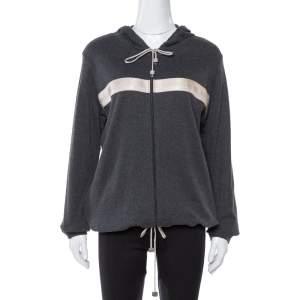 Chanel Dark Grey Cotton & Cashmere Logo Band Detail Hoodie XL