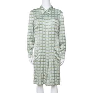 Chanel Vintage Mint Green Checked Silk Shirt Dress L