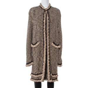 Chanel Vintage Brown Tweed Braided Trim Tie Neck Coat L