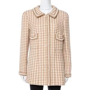 Chanel Vintage Beige Houndstooth Tweed Button Front Jacket L