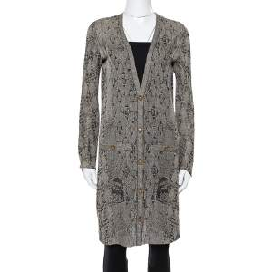 Chanel Black Lurex Jacquard Knit Button Front Cardigan S