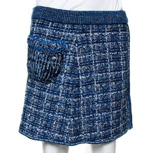 Chanel Blue Lurex Tweed Zip Up Mini Skirt M