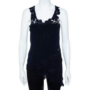 Chanel Navy Blue Crochet Knit Lace Trim Sleeveless Top M