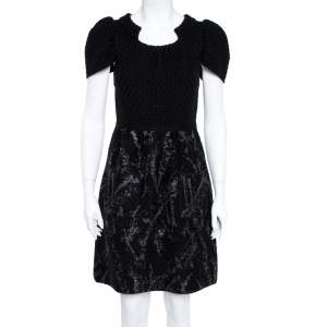 Chanel Black Wool Knit Coated Paint Detail A-Line Dress M