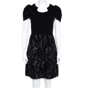 فستان شانيل تصميم حرف أيه تفاصيل طلاء مقوى تريكو صوف أسود M