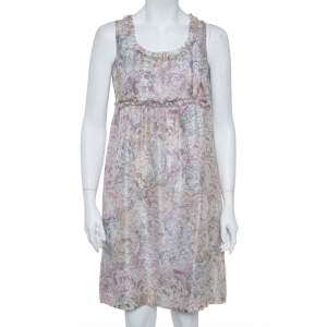 Chanel Pale Grey Floral Print Silk Sleeveless Dress L