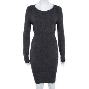 Chanel Black Wool Knit Ribbed Waist Long Sleeve Dress S