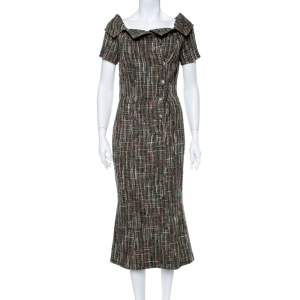 Chanel Green Double Breasted Tweed Midi Dress S