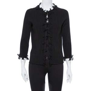 Chanel Black Knit & Bow Detail Cardigan L