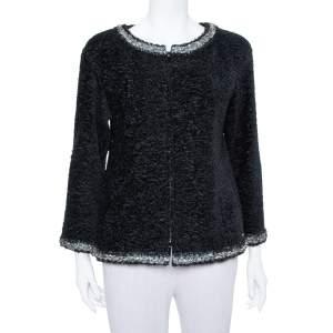 Chanel Black Textured Silk Embellished Detail Zip Front Jacket M