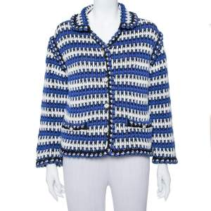Chanel Multicolor Linen Knit Button Front Jacket M