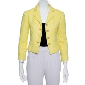 Chanel Yellow Tweed Button Front Cropped Blazer S