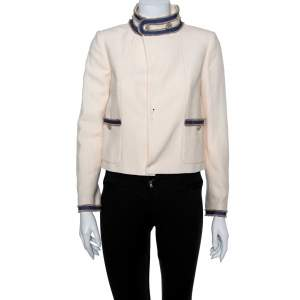Chanel Cream Boucle Stand Collar Button Detail Jacket S