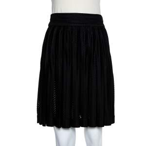 Chanel Black Synthetic Pleated Short Skirt M