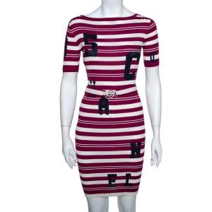 Chanel White & Purple Striped Rib Knit Belted Midi Dress M