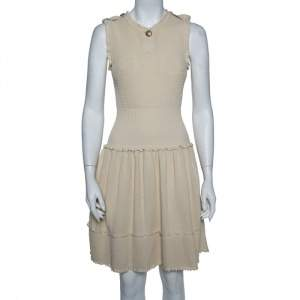 Chanel Beige Perforated Knit Drop Waist Fit  & Flare Dress S