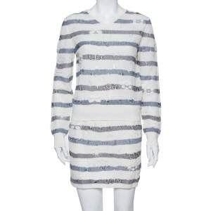 Chanel Cream & Navy Blue Striped Embossed Knit V Neck Sweater & Skirt Set S
