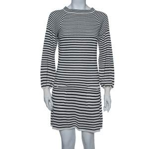 Chanel Monochrome Striped Perforated Knit Midi Dress S