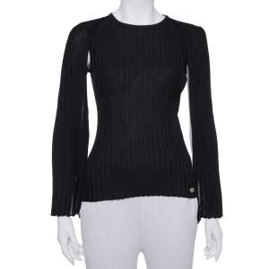 Chanel Black Wool Cape Sleeve Top S