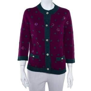 Chanel Purple Cashmere Polka Dot & Sequin Embellished Button Front Cardigan M