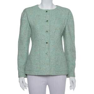 Chanel Mint Green Tweed Button Front Jacket L