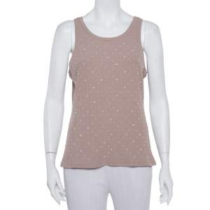 Chanel Nude Pink Rib Knit Pearl Embellished Tank Top XL