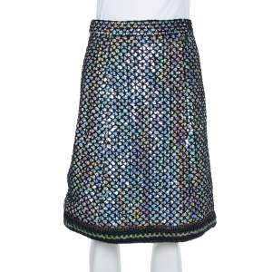 Chanel Black Knit Sequin Embellished Skirt M
