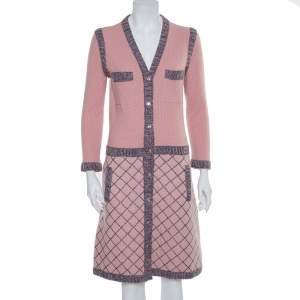 Chanel Pink Silk & Cashmere Button Front Midi Dress M